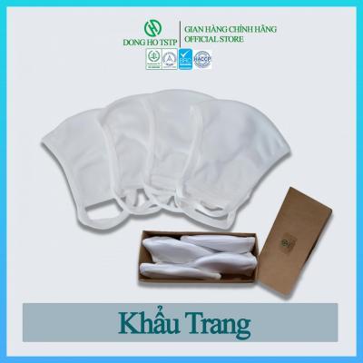 Hộp 4 cái khẩu trang vải kháng khuẩn, chống khói bụi 3 lớp - hàng xuất khẩu - khẩu trang vải cao cấp màu trắng