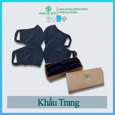 Hộp 4 cái khẩu trang vải kháng khuẩn, chống khói bụi 3 lớp - hàng xuất khẩu - khẩu trang vải màu xanh đen